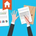 Real estate agent using graphs, documents, and calculator to anticipate interest rates
