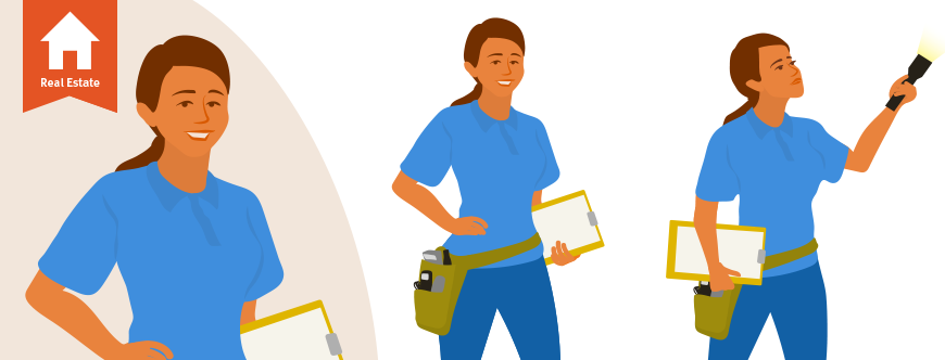 Illustration of home inspectors to show how to find home inspectors to recommend to clients