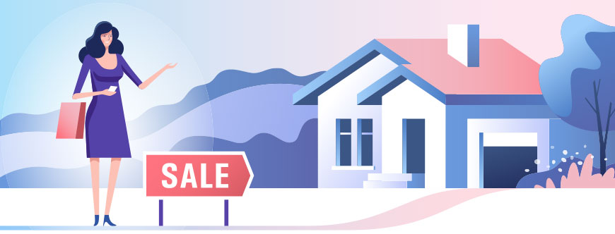 Image of a woman selling a house