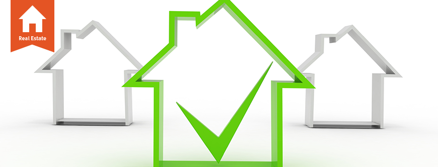 Image of a large house with a green outline and check mark