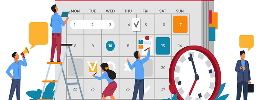 People working together on a calendar