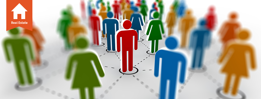 Cutouts of real estate professionals networking