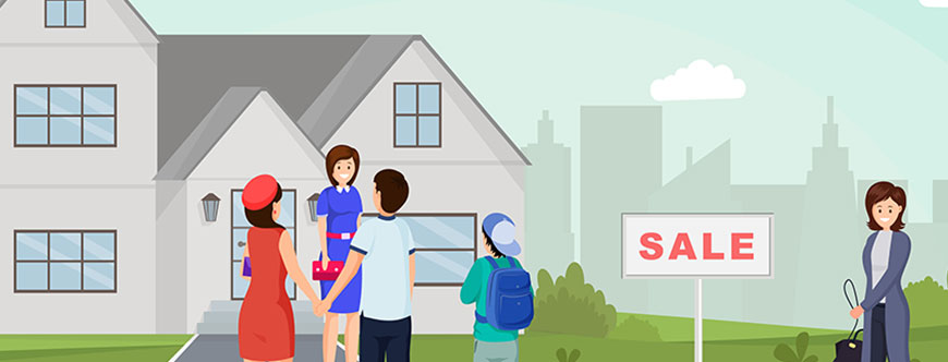Image of a real estate agent showing a house to a family