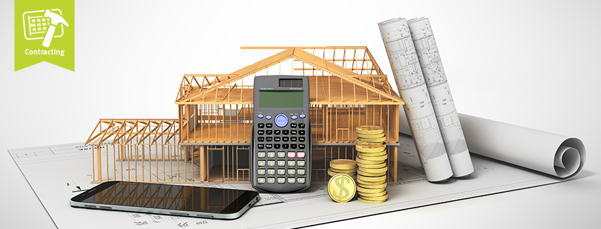 Model of home in progress and calculator to demonstrate costs of construction delays