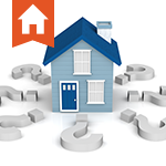 Image of a big blue house surrounded by giant gray question marks