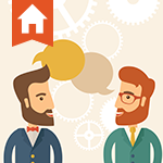 Illustration of two business professionals networking