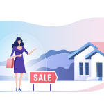 Image of a woman standing near a house for sale