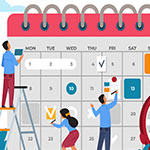 A group of people working on a calendar