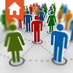 Cutout of a man surrounded by his business network