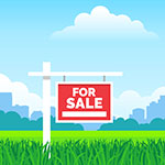 A real estate for sale sign in a front yard