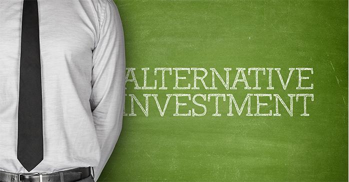 Man in necktie with Alternative Investment written in background - Kaplan Schweser
