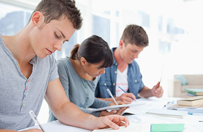 Students working in a live class
