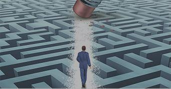 Man navigating maze by creating a straight path through it - Kaplan Schweser