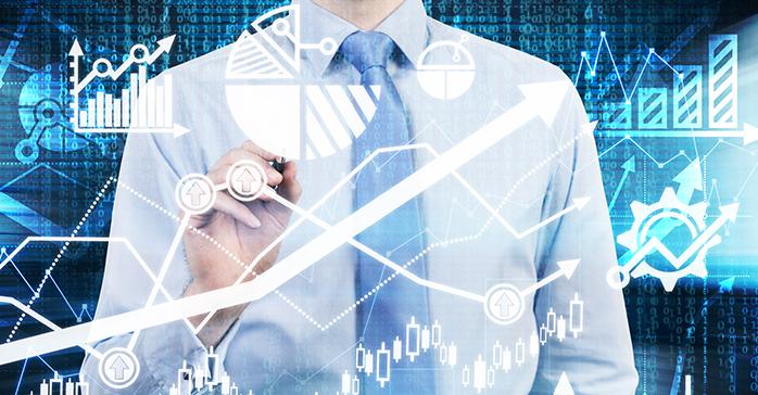 Man analyzing data for a portfolio on a touch screen - Kaplan Schweser