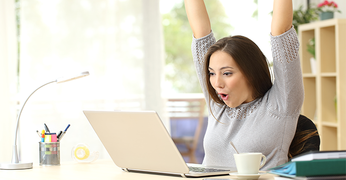 Woman celebrates she was able to pass the CFA Exam Level III