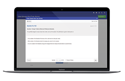 Schweser's Online CFA Mock exam on a laptop
