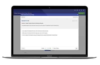 Schweser CFA Online Mock exam on a laptop