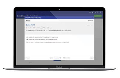 Online CFA Mock Exam on laptop